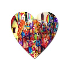 Guatemala Art Painting Naive Heart Magnet by Celenk