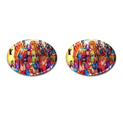 Guatemala Art Painting Naive Cufflinks (oval) by Celenk