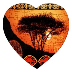 Africa Safari Summer Sun Nature Jigsaw Puzzle (heart) by Celenk