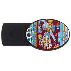 Mexico Puebla Mural Ethnic Aztec Usb Flash Drive Oval (4 Gb) by Celenk