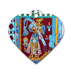 Mexico Puebla Mural Ethnic Aztec Dog Tag Heart (one Side) by Celenk