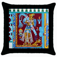 Mexico Puebla Mural Ethnic Aztec Throw Pillow Case (black) by Celenk