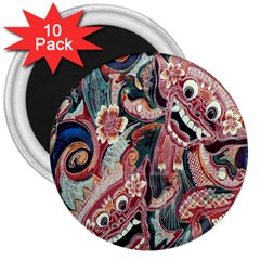 Indonesia Bali Batik Fabric 3  Magnets (10 Pack)