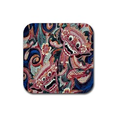 Indonesia Bali Batik Fabric Rubber Coaster (square)  by Celenk