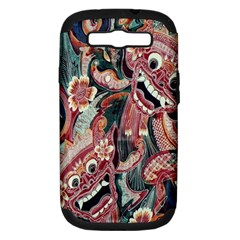 Indonesia Bali Batik Fabric Samsung Galaxy S Iii Hardshell Case (pc+silicone) by Celenk