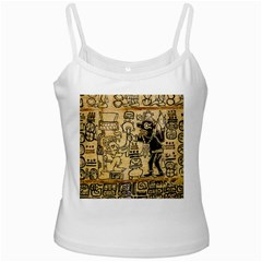 Mystery Pattern Pyramid Peru Aztec Font Art Drawing Illustration Design Text Mexico History Indian White Spaghetti Tank