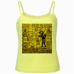 Mystery Pattern Pyramid Peru Aztec Font Art Drawing Illustration Design Text Mexico History Indian Yellow Spaghetti Tank