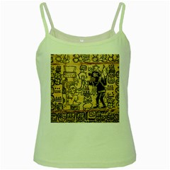 Mystery Pattern Pyramid Peru Aztec Font Art Drawing Illustration Design Text Mexico History Indian Green Spaghetti Tank