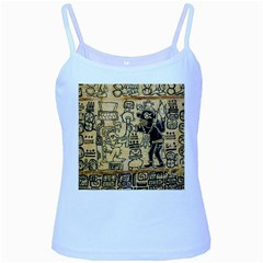 Mystery Pattern Pyramid Peru Aztec Font Art Drawing Illustration Design Text Mexico History Indian Baby Blue Spaghetti Tank