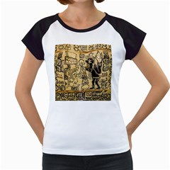 Mystery Pattern Pyramid Peru Aztec Font Art Drawing Illustration Design Text Mexico History Indian Women s Cap Sleeve T