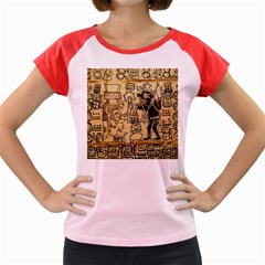 Mystery Pattern Pyramid Peru Aztec Font Art Drawing Illustration Design Text Mexico History Indian Women s Cap Sleeve T-Shirt