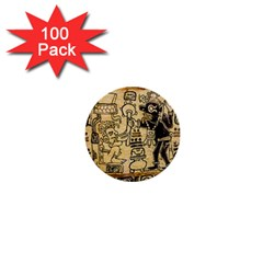 Mystery Pattern Pyramid Peru Aztec Font Art Drawing Illustration Design Text Mexico History Indian 1  Mini Buttons (100 pack)