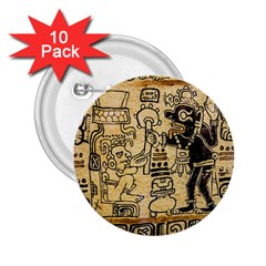 Mystery Pattern Pyramid Peru Aztec Font Art Drawing Illustration Design Text Mexico History Indian 2.25  Buttons (10 pack)