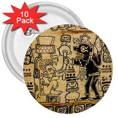 Mystery Pattern Pyramid Peru Aztec Font Art Drawing Illustration Design Text Mexico History Indian 3  Buttons (10 pack)