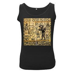 Mystery Pattern Pyramid Peru Aztec Font Art Drawing Illustration Design Text Mexico History Indian Women s Black Tank Top