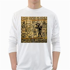 Mystery Pattern Pyramid Peru Aztec Font Art Drawing Illustration Design Text Mexico History Indian White Long Sleeve T-Shirts