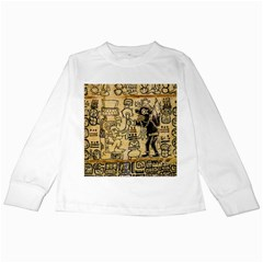 Mystery Pattern Pyramid Peru Aztec Font Art Drawing Illustration Design Text Mexico History Indian Kids Long Sleeve T-Shirts