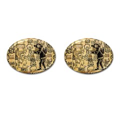 Mystery Pattern Pyramid Peru Aztec Font Art Drawing Illustration Design Text Mexico History Indian Cufflinks (Oval)