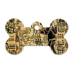 Mystery Pattern Pyramid Peru Aztec Font Art Drawing Illustration Design Text Mexico History Indian Dog Tag Bone (two Sides) by Celenk