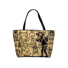 Mystery Pattern Pyramid Peru Aztec Font Art Drawing Illustration Design Text Mexico History Indian Shoulder Handbags