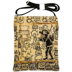 Mystery Pattern Pyramid Peru Aztec Font Art Drawing Illustration Design Text Mexico History Indian Shoulder Sling Bags