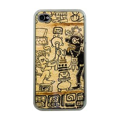 Mystery Pattern Pyramid Peru Aztec Font Art Drawing Illustration Design Text Mexico History Indian Apple iPhone 4 Case (Clear)