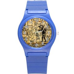 Mystery Pattern Pyramid Peru Aztec Font Art Drawing Illustration Design Text Mexico History Indian Round Plastic Sport Watch (S)