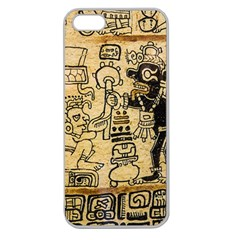 Mystery Pattern Pyramid Peru Aztec Font Art Drawing Illustration Design Text Mexico History Indian Apple Seamless iPhone 5 Case (Clear)
