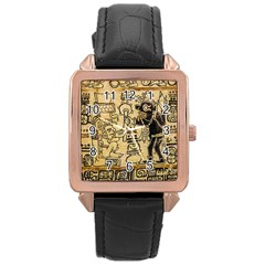 Mystery Pattern Pyramid Peru Aztec Font Art Drawing Illustration Design Text Mexico History Indian Rose Gold Leather Watch
