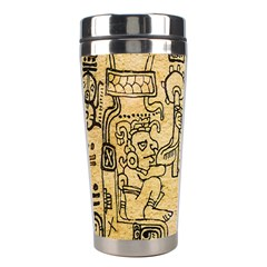 Mystery Pattern Pyramid Peru Aztec Font Art Drawing Illustration Design Text Mexico History Indian Stainless Steel Travel Tumblers