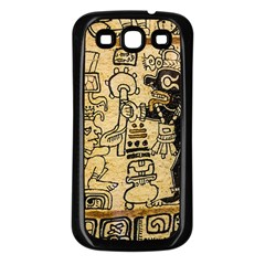 Mystery Pattern Pyramid Peru Aztec Font Art Drawing Illustration Design Text Mexico History Indian Samsung Galaxy S3 Back Case (Black)