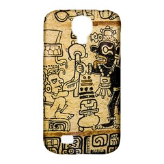 Mystery Pattern Pyramid Peru Aztec Font Art Drawing Illustration Design Text Mexico History Indian Samsung Galaxy S4 Classic Hardshell Case (pc+silicone) by Celenk
