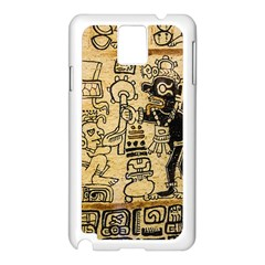 Mystery Pattern Pyramid Peru Aztec Font Art Drawing Illustration Design Text Mexico History Indian Samsung Galaxy Note 3 N9005 Case (White)