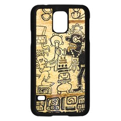 Mystery Pattern Pyramid Peru Aztec Font Art Drawing Illustration Design Text Mexico History Indian Samsung Galaxy S5 Case (Black)