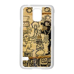 Mystery Pattern Pyramid Peru Aztec Font Art Drawing Illustration Design Text Mexico History Indian Samsung Galaxy S5 Case (White)