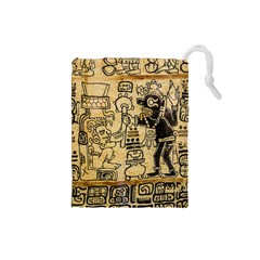 Mystery Pattern Pyramid Peru Aztec Font Art Drawing Illustration Design Text Mexico History Indian Drawstring Pouches (Small)