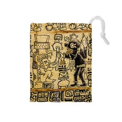 Mystery Pattern Pyramid Peru Aztec Font Art Drawing Illustration Design Text Mexico History Indian Drawstring Pouches (Medium)