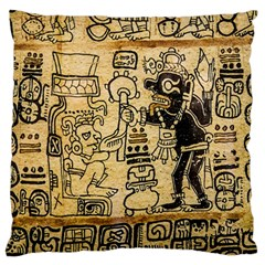 Mystery Pattern Pyramid Peru Aztec Font Art Drawing Illustration Design Text Mexico History Indian Large Flano Cushion Case (Two Sides)