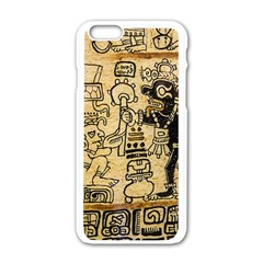 Mystery Pattern Pyramid Peru Aztec Font Art Drawing Illustration Design Text Mexico History Indian Apple iPhone 6/6S White Enamel Case