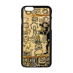 Mystery Pattern Pyramid Peru Aztec Font Art Drawing Illustration Design Text Mexico History Indian Apple iPhone 6/6S Black Enamel Case