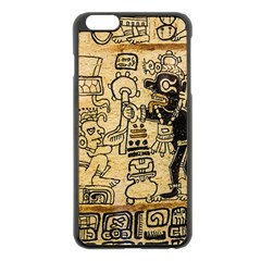 Mystery Pattern Pyramid Peru Aztec Font Art Drawing Illustration Design Text Mexico History Indian Apple iPhone 6 Plus/6S Plus Black Enamel Case