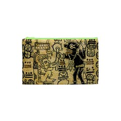 Mystery Pattern Pyramid Peru Aztec Font Art Drawing Illustration Design Text Mexico History Indian Cosmetic Bag (XS)