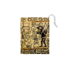 Mystery Pattern Pyramid Peru Aztec Font Art Drawing Illustration Design Text Mexico History Indian Drawstring Pouches (XS)