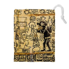 Mystery Pattern Pyramid Peru Aztec Font Art Drawing Illustration Design Text Mexico History Indian Drawstring Pouches (Extra Large)