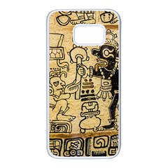 Mystery Pattern Pyramid Peru Aztec Font Art Drawing Illustration Design Text Mexico History Indian Samsung Galaxy S7 White Seamless Case