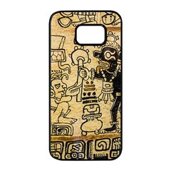 Mystery Pattern Pyramid Peru Aztec Font Art Drawing Illustration Design Text Mexico History Indian Samsung Galaxy S7 edge Black Seamless Case