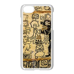 Mystery Pattern Pyramid Peru Aztec Font Art Drawing Illustration Design Text Mexico History Indian Apple iPhone 7 Seamless Case (White)