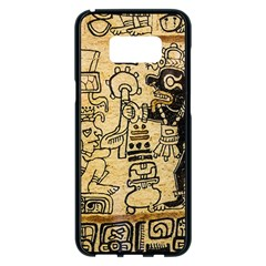 Mystery Pattern Pyramid Peru Aztec Font Art Drawing Illustration Design Text Mexico History Indian Samsung Galaxy S8 Plus Black Seamless Case