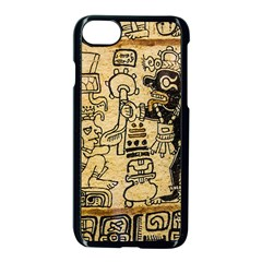 Mystery Pattern Pyramid Peru Aztec Font Art Drawing Illustration Design Text Mexico History Indian Apple iPhone 8 Seamless Case (Black)