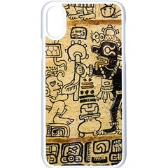 Mystery Pattern Pyramid Peru Aztec Font Art Drawing Illustration Design Text Mexico History Indian Apple iPhone X Seamless Case (White)